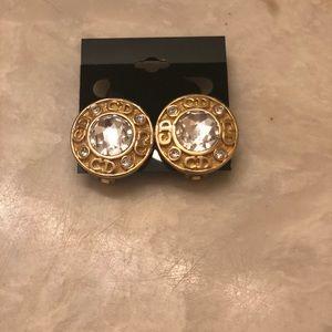 Chr. Dior Clip On Golden Earrings